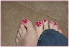 polish (tammye*) Tags: red feet toes paint heart polish winner pedicure dots fabulous pyp tcf pickyourpoison thechallengefactory herowinner