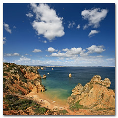 Ponta da Piedade, Algarve, Portugal. Stairway to heaven? (s0ulsurfing) Tags: blue light shadow sea sky cloud sunlight holiday seascape color colour tourism beach portugal water weather rock clouds contrast square landscape golden bay coast interesting sand rocks heaven paradise skies shadows wind cove gulls wide steps shoreline fluffy wideangle tourist stack stairway explore coastal shore cumulus april vista coastline algarve humilis puffy 2009 sunbathing squared nube cliche bold foreground stacks meteorology nephology 10mm sigma1020 s0ulsurfing pontadapiedade westernalgarve cumulushumilis aplusphoto vertorama