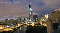 South Loop | River City Roof Deck 02 (Christopher James Botham) Tags: city sunset urban chicago skyline architecture night clouds illinois cityscape dusk searstower roofdeck chicagoriver southloop rivercity 311southwacker willistower worldland