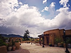 (negra223) Tags: travel trees vacation mountains newmexico santafe building rooftop nature beauty clouds fun outdoors day skies view planters patterns scenic large floating sunny diana tiles posts wisps