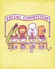 Eating Competition (randyotter) Tags: bear art yellow illustration table design eating alligator lion tshirt competition creme fox otter crocodile randy polar threadless tee dingo randyotter