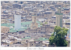 Fes (EricP2x) Tags: africa old city urban art geometric skyline architecture ancient pattern minaret towers morocco fez imperial souk medina archway minarets fes islamic