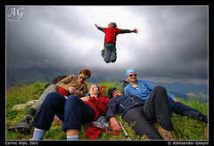 Levitation (TranceVelebit) Tags: mountain alps clouds hiking joy levitation mountaineering summit rest hikers alpicarniche karnischealpen coglians floriz aleksandargospic
