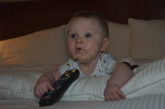 typical guy - already hogs the remote