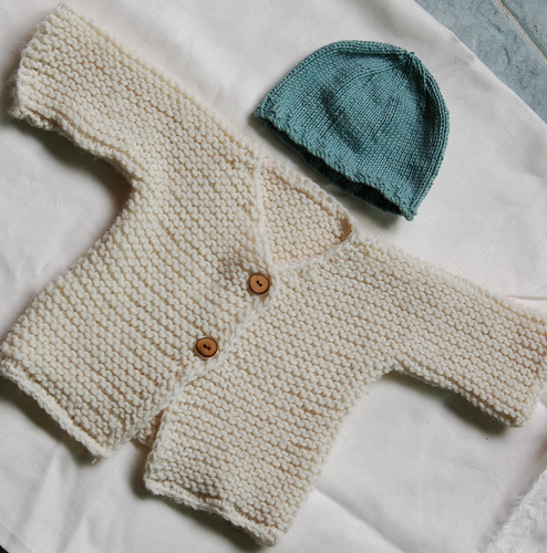baby sweater + knit beanie