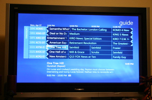 Media Center Guide Listings on a Plasma TV