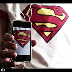 Superman ~ (FatoOoma Qatar ~) Tags: apple focus hand s superman headphones hold iphone fatoooma