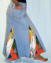 Orange Crackle Skirt (brendaabdullah) Tags: colorful oneofakind funky denim wearableart patchwork reconstructed upcycled brendaabdullah recycledrestyledredesignedindieetsydesign