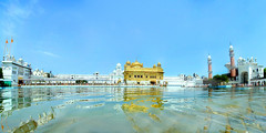 Darbar Sahib (Golden Temple), Amritsar, Punjab, India ('HD' nature) Tags: desktop blue wallpaper sky india color colour reflection water colors landscape religious mirror golden scenery colorful colours image widescreen sony religion wide highdefinition hd sikh hq punjab amritsar gurudwara sikhism goldentemple vaisakhi baisakhi naturesfinest harmandirsahib sarovar darbarsahib religiousplace dsch3 sikhreligiousplace
