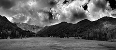 Bad Weather is coming... (Philipp Klinger Photography) Tags: sky panorama white black mountains tree grass clouds forest photoshop austria sterreich meadow krnten carinthia hills hut photomerge philipp klinger bodental dcdead