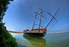Beached Ship (Jesse James Photography) Tags: water boat nikon ship fisheye jordan pirate lakeontario hdr pirateship removedfromnikkorfortags nikond80
