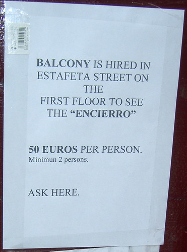 50€ for bull run balcony viewing