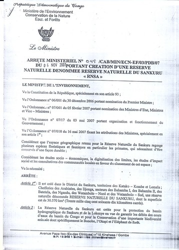 first page of Sankuru Reserve statute