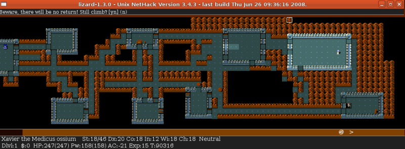 nethack - no return