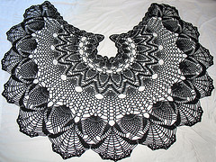 Gothic Pineapples (CopperScaleDragon) Tags: fan gothic goth pineapple capecrochetshawlcraftlace