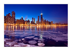 Icy Downtown Chicago (benkrut) Tags: city travel chicago hancockbuilding cold ice skyline architecture night skyscraper circle frozen illinois streetlight cityscape waterfront dusk searstower citylife officebuilding illuminated lakemichigan lakeshoredrive michiganavenue vacations scenics magnificentmile businesstravel windycity urbanscene traveldestinations famousbuilding lightingequipment downtowndistrict peopletraveling builtstructure lpfloating