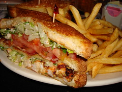 Cheesecake Factory, Grilled Shrimp and Bacon Club sandwich (Harvey-Harv) Tags: sony shrimp sandwiches cheesecakefactory grilledshrimp sonydscn2