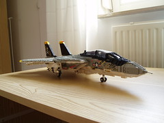 F-14A Tomcat (1) (Mad physicist) Tags: model fighter lego f14 aircraft usnavy jollyroger tomcat grumman f14a