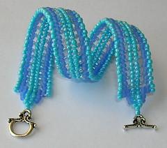 Calming Waters (fivefootfury) Tags: blue water beads calming bracelet fengshui beaded beadwork sterlingsilver