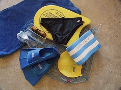 Swimming Kit (Harvey Schiller - chateauglenunga) Tags: sport swimming goggles towel rubber plastic equipment health cotton foam recreation hobbies fitness flippers kickboard aussiebum swimmingcap pastimes pullbuoy swimcap netbag sparegoggles shoulodhavehandpaddlesbutidontlikethemandilostthelastset zoogs