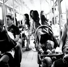 Baby (Js) Tags: people blackandwhite bw baby toronto 6x6 square fuji dof bokeh stroller ttc passengers 400 transit neopan streetcar yashica mat124g futab