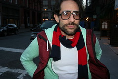 Dov Charney in American Apparel and scarf