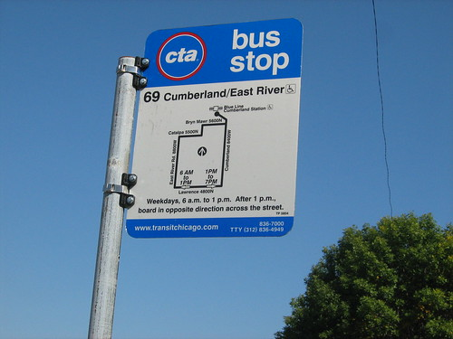 69 Cumberland/East River CTA Bus Stop Sign - a photo on