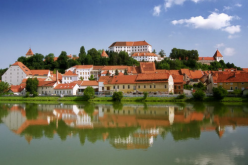 downtown Ptuj Slovenia with Ptuj castle