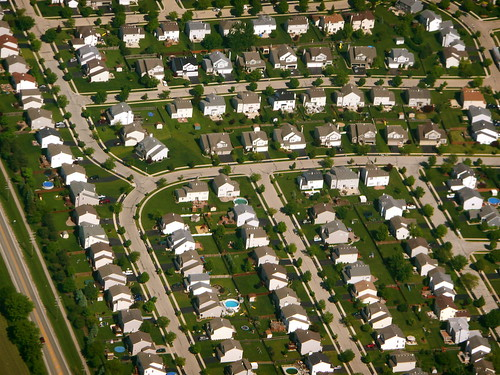 chicago suburb from the air