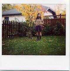 backyard me (julia:elise) Tags: red sun yellow polaroid boots sunny crisp spectra leavesfalling corduroyjacket abeautifulevening beneathmyfeet afallwalk andrustling