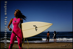 PINK SUIT (Magnum Yoda Photogrphy) Tags: blue sunset summer woman beach photoshop nikon surf surfer blues wideangle realism satoko