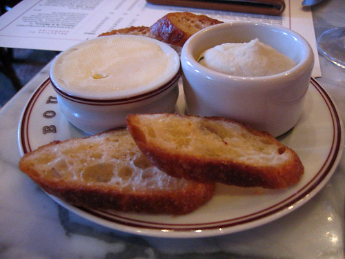 Toasted baguette with white bean puree and butter