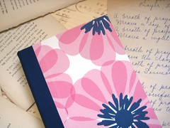 Spirograph Flower Journal/Notebook - Medium (boundto) Tags: pink white writing notebook book handmade diary journal sketchbook etsy bound handbound boundto bookbindingteam