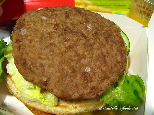 麥當勞田園培根雙牛堡第一層牛肉