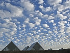 Puffy Sky over TriAngles (slipgrove) Tags: blue sky architecture clouds october pattern angles angels chicagobotanicgarden october19 slipgrove