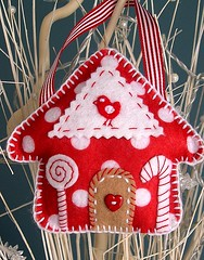 Christmas Candy House 2 (heartfelthandmade) Tags: christmas red white house candy heart handmade decoration gingerbread felt ornament button birdy