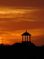 last night, oxford (venetia 27) Tags: trees roof sunset clouds oxford cupola pylons