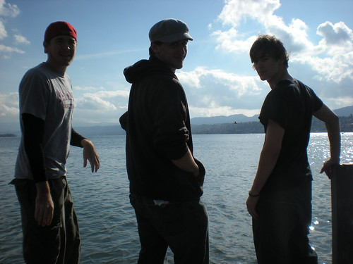 Standing with Sean Blanda and his brother Brian in Zurich, on the dock described in my Inquirer story below.