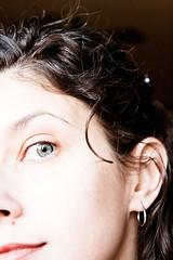 Day 341:  Springy (Angela.) Tags: selfportrait eye face digital canon rebel raw earring curls curl angela mole curlyhair spacegirl beautymark 365days xti 400d tamron1750mmf28 366days canondigitalrebelxti img6906