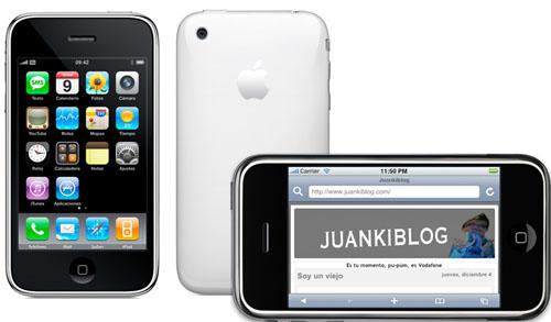 Un iPhone luciendo el gran blog Juankiblog junto a otros dos iPhone, uno de ellos blanco