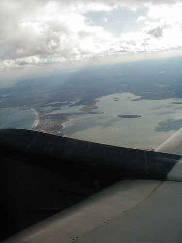 Looking down at Hull, Cohasset, Hingham, and Hingham Harbor from the plane leaving Logan for Paris