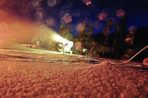 Night snowmaking at Alpine