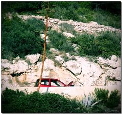 The hungry car / El coche hambriento (SantiMB.Photos) Tags: barcelona españa woman cars lady lomo xprocess procesocruzado mujer spain highway carretera crossprocess route breakdown catalunya sitges coches garraf costas avería