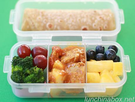 Chicken curry bento lunch for preschooler