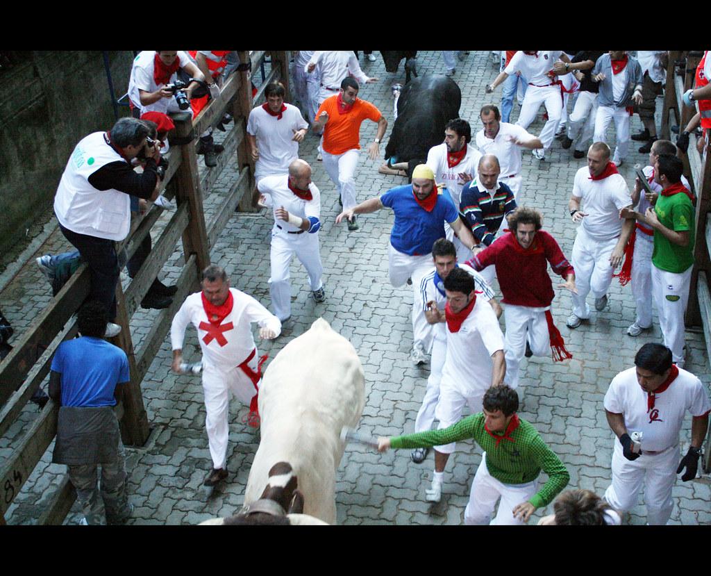 "Fiesta San Fermin Running of the Bulls Pamplona Navarra Spain. ""Viva San Fermín!, Gora San Fermín!"""