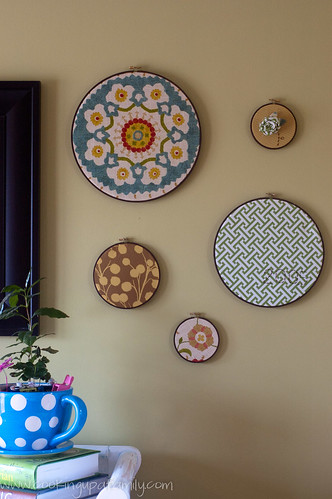 Fabric Hoops in Kitchen