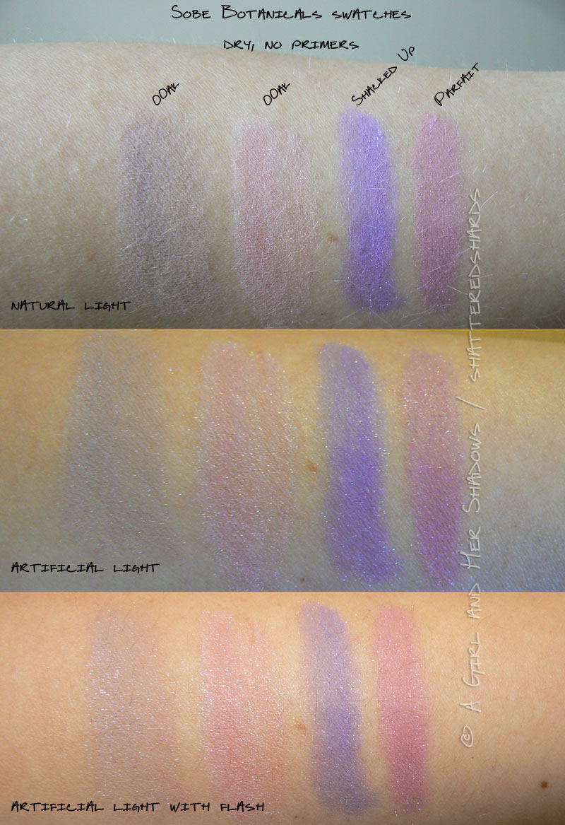 Sobe Botanicals swatches