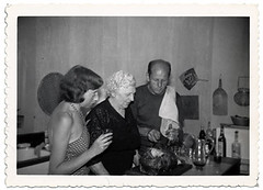 Jackson Pollock with his mother and Lee Krasner, 1950