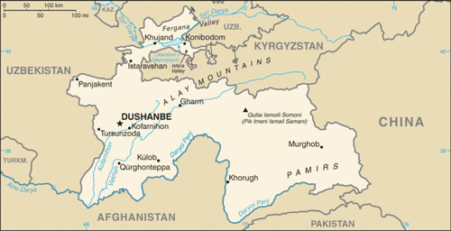 carte tadjikistan