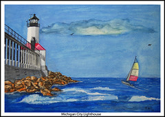 Michigan City Lighthouse Watercolor